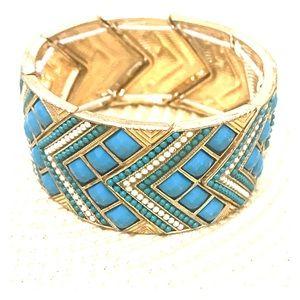Chevron Turquoise stretch bracelet